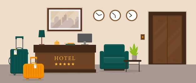 Hotel receptie interieur Premium Vector