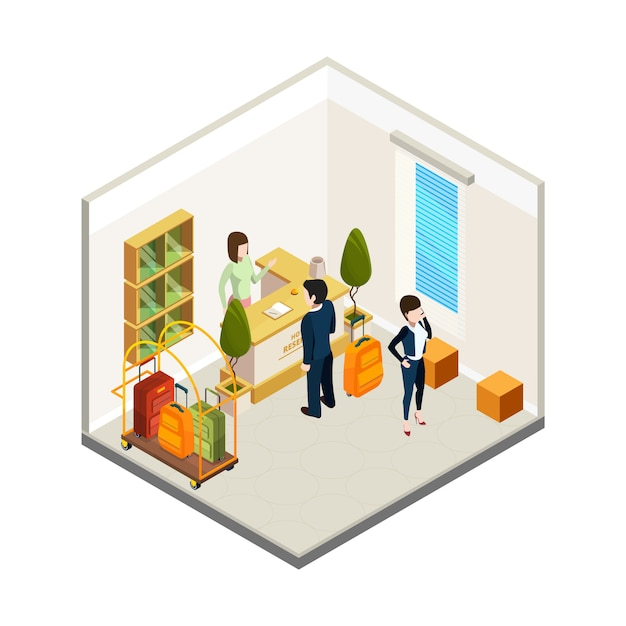 Hotel receptie. isometrische hostelreceptionist toeristen. hotel info balie illustratie Premium Vector