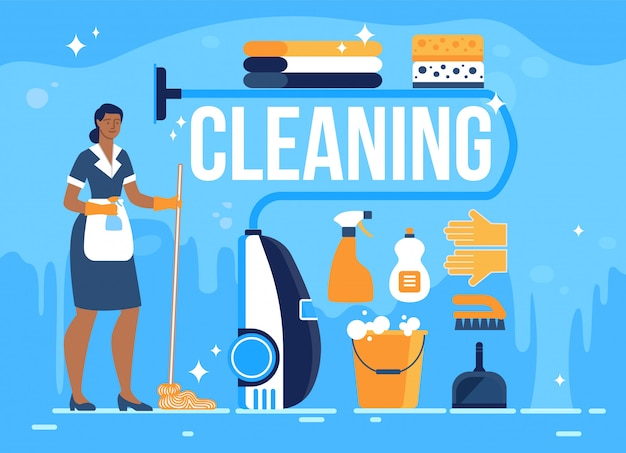 Hotel room cleaning service flat banner Premium Vector