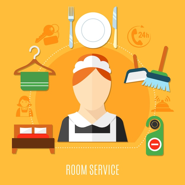 Hotel roomservice illustratie Gratis Vector