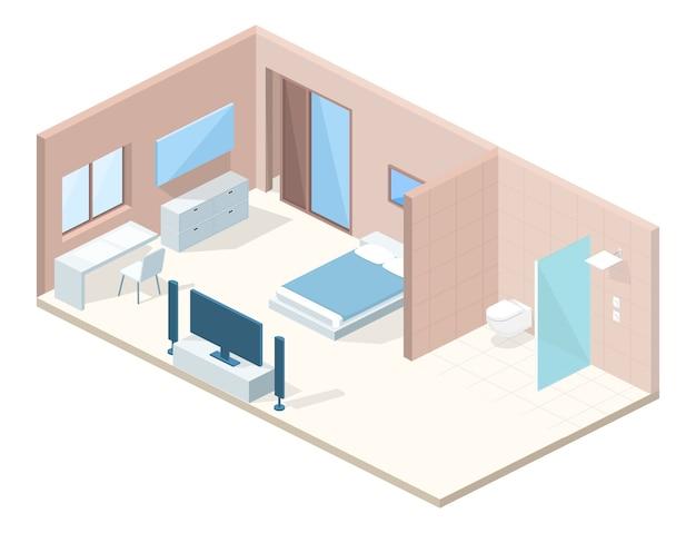 Hotel slaapkamer dwarsdoorsnede illustratie Gratis Vector
