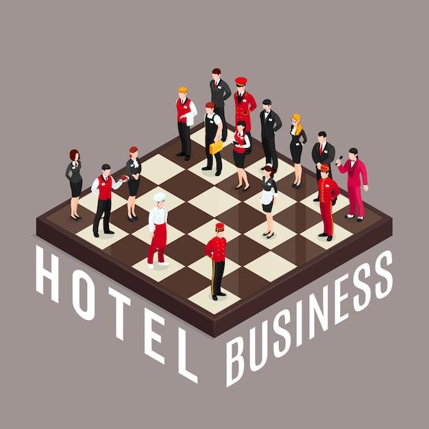 Hotel zakenschaak concept Gratis Vector