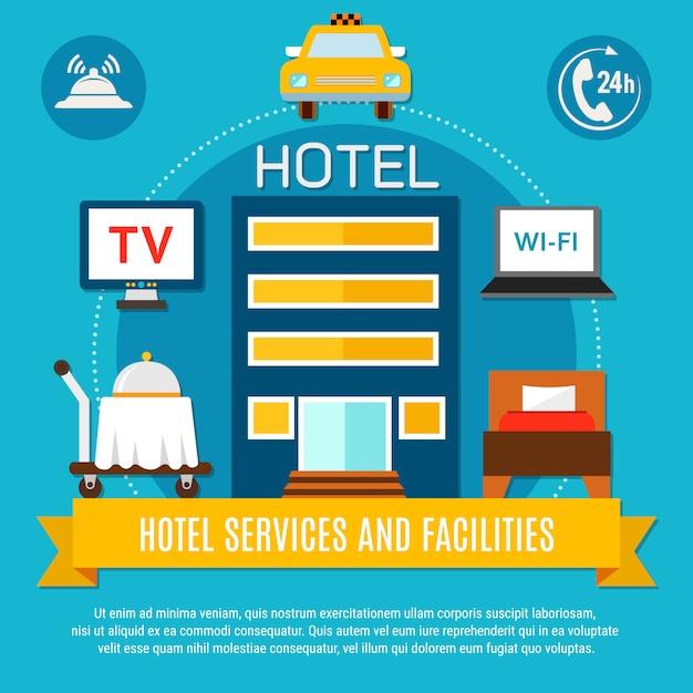 Hoteldiensten en faciliteiten Gratis Vector