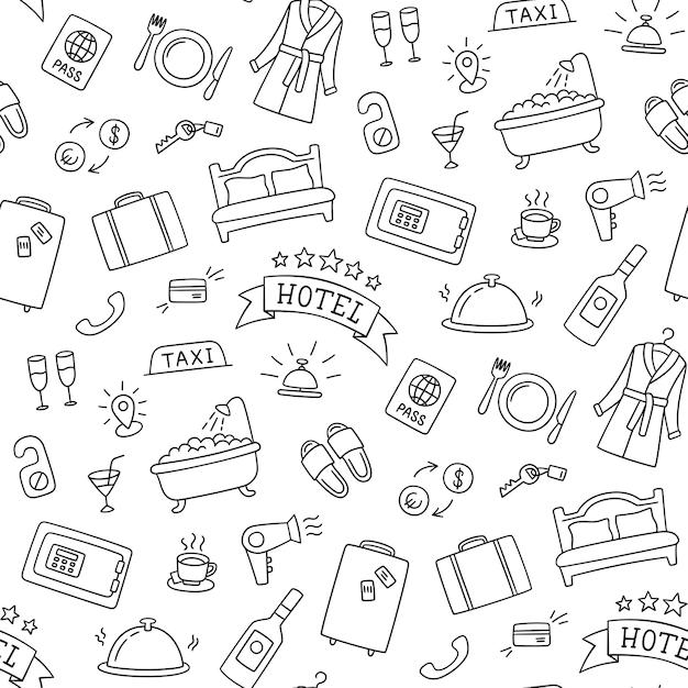 Hoteldiensten hand getekend patroon. bed, bad, kluis, ontbijt, badjas en andere voorwerpen. Premium Vector
