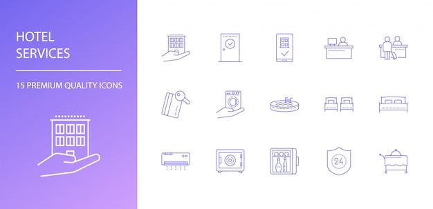 Hoteldiensten lijn pictogrammen instellen Premium Vector
