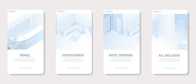 Hoteldiensten voor vakantie social media banner Premium Vector