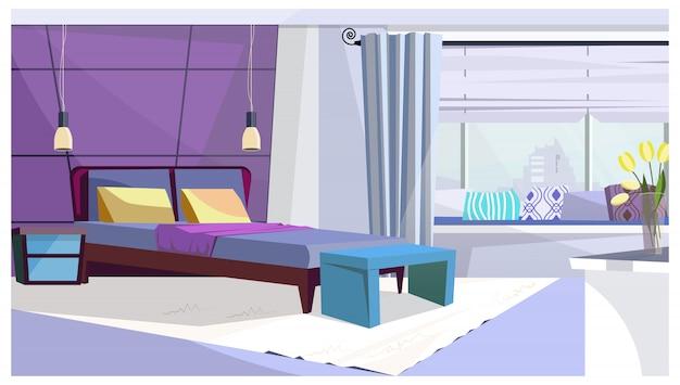 Hotelkamer met bed in purpere kleurenillustratie Gratis Vector