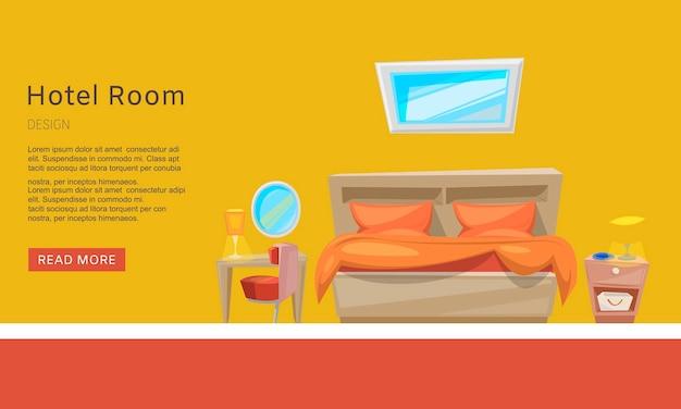 Hotelkamerreservering, appartementreservering web tempate. presentatie website. Premium Vector