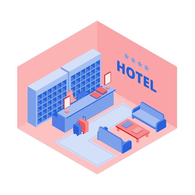 Hotelreceptie isometrisch aanzicht Gratis Vector
