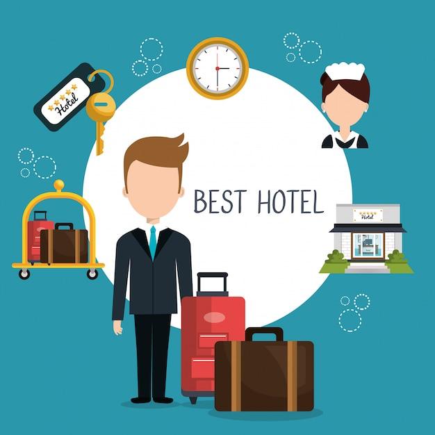 Hotelservice ontwerp Premium Vector