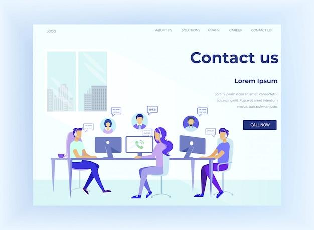 Hotline flat landing page biedt online ondersteuning Premium Vector