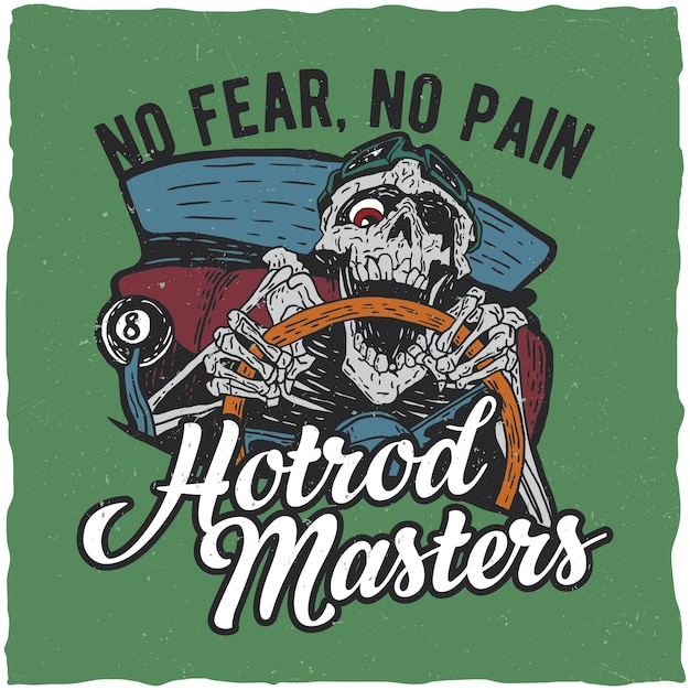 Hotrod meesters poster met skelet Gratis Vector