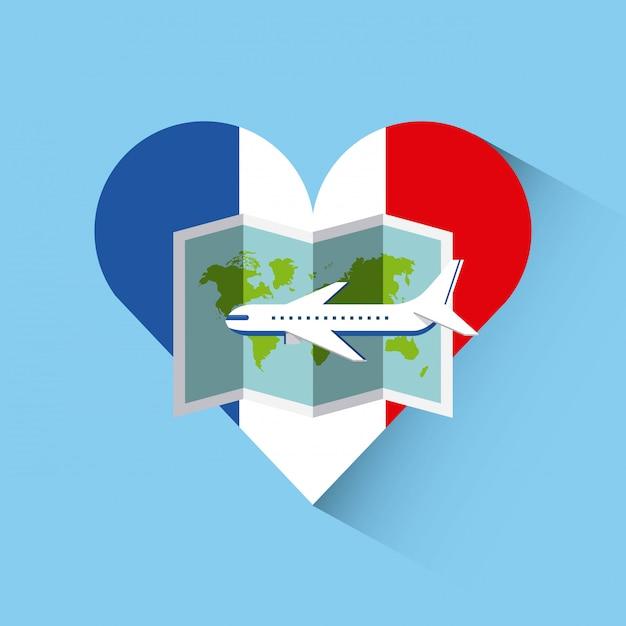 Hou van frankrijk hart reizen Premium Vector
