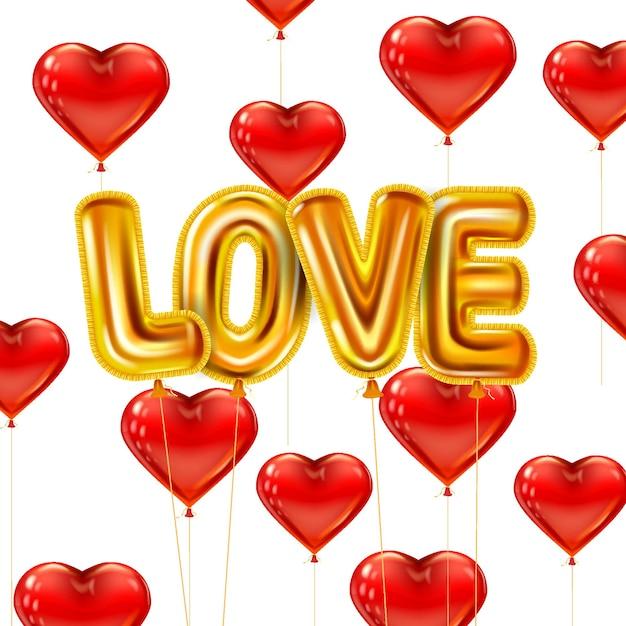 Hou van gouden helium metallic glanzende ballonnen realistisch. vliegende rood hart ballonnen vorm Premium Vector