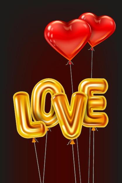 Hou van gouden helium metallic glanzende ballonnen realistische tekst, hartvorm vliegende rode ballonnen, gelukkige valentijnsdag Premium Vector