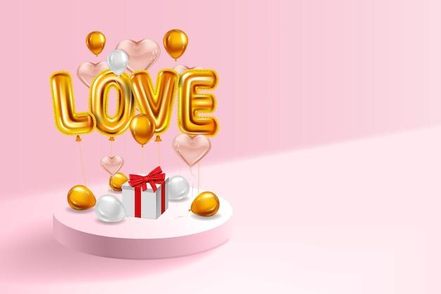 Hou van helium metallic glanzende ballonnen realistisch, geschenkdoos, inerieur voetstuk, vliegende gouden ballonnen Premium Vector