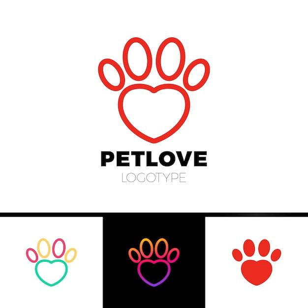 Hou van huisdier of hart paw logo sjabloon Premium Vector