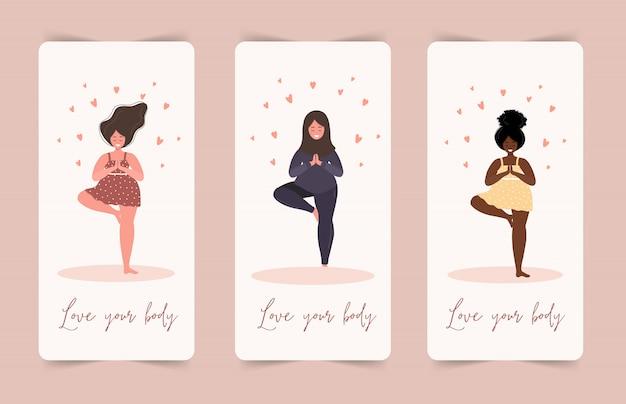 Hou van jezelf. ik hou van je lichaam concept. girl healthcare huidverzorging. neem de tijd voor jezelf. rustige vrouwen in jurk met hartjes op een witte achtergrond. pastel schattige zachte kleuren. illustratie. vlakke stijl. Premium Vector