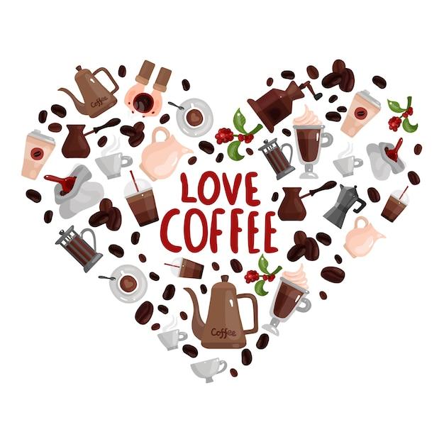 Hou van koffie ontwerpconcept met hart afbeelding samengesteld uit verschillende koffiezetapparaten Gratis Vector