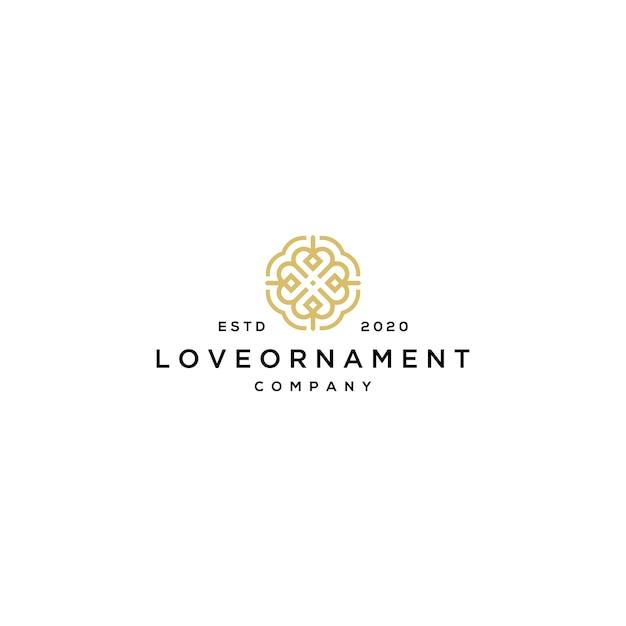 Hou van lijn logo met sieraad sjabloon Premium Vector