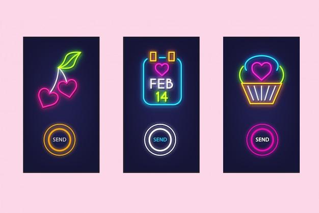 Hou van mobiele app set met neon glow. virtuele liefde. ui-ontwerp. Premium Vector