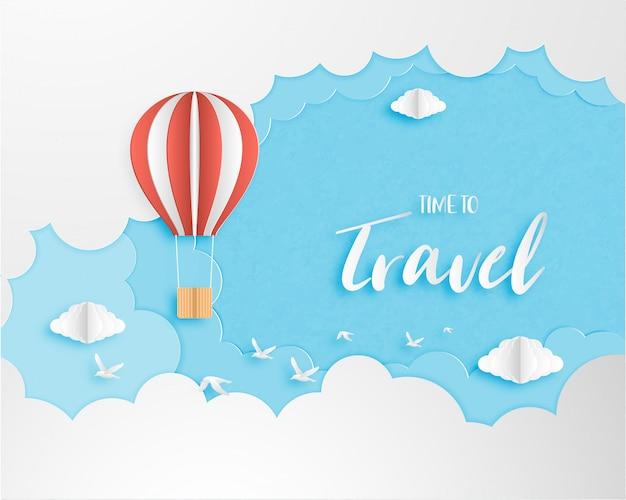 Hou van reizen banner, poster, uitnodigingskaart concept. Premium Vector
