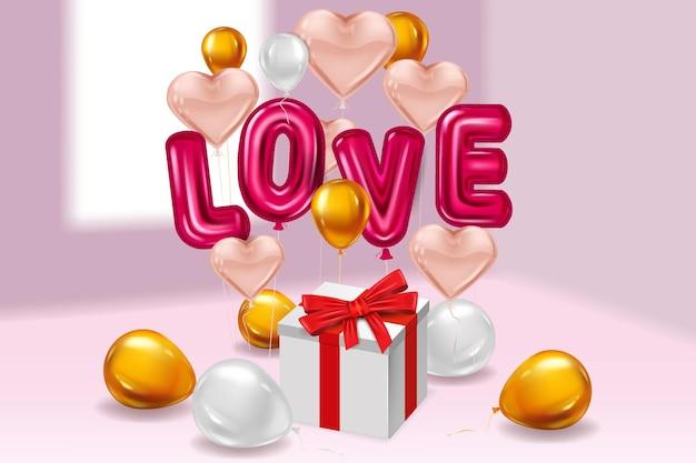 Hou van rode helium metallic glanzende ballonnen realistische tekst, vak cadeau, hartvorm vliegende roze gouden ballonnen Premium Vector