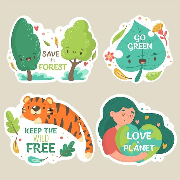 Houd het wild vrij en de natuur leeft met de hand getekende ecologiebadges Gratis Vector