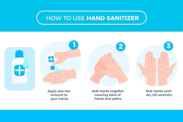 Houd je gezonde handen met handdesinfecterend middel Gratis Vector