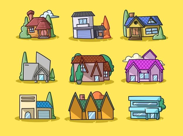 House collection cartoon afbeelding Premium Vector