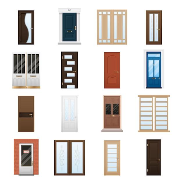 House doors set Gratis Vector