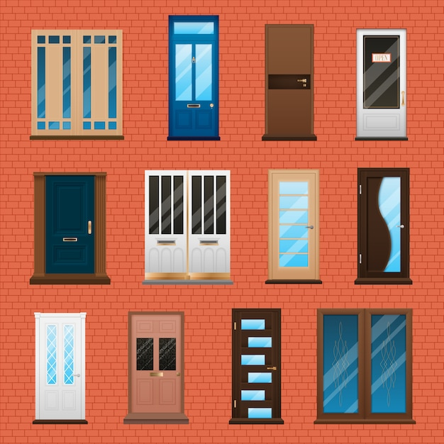 House doors set Gratis Vector