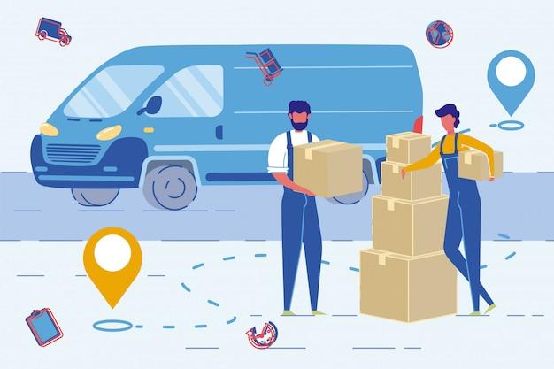 House moving agency medewerkers of verhuizers verzenddozen Premium Vector