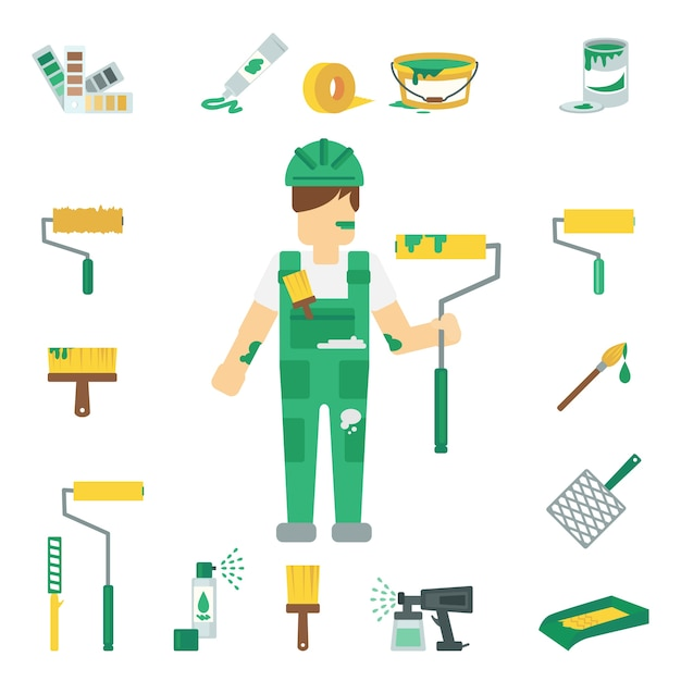 House painter flat set Gratis Vector