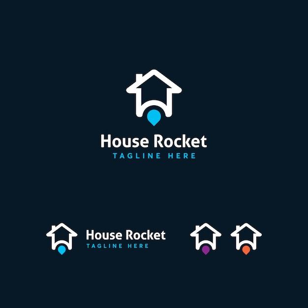 House rocket-logo sjabloon Premium Vector