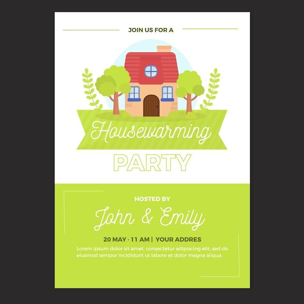 Housewarming feest uitnodiging sjabloon Gratis Vector