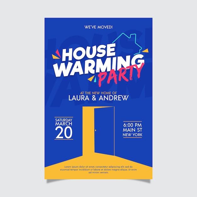 Housewarming party uitnodiging ontwerp Gratis Vector