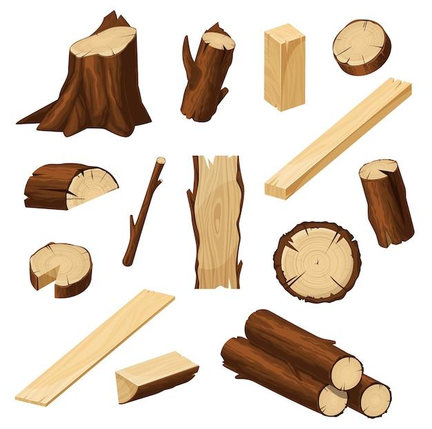 Hout met houtblokken, gehakte boomstammen Premium Vector