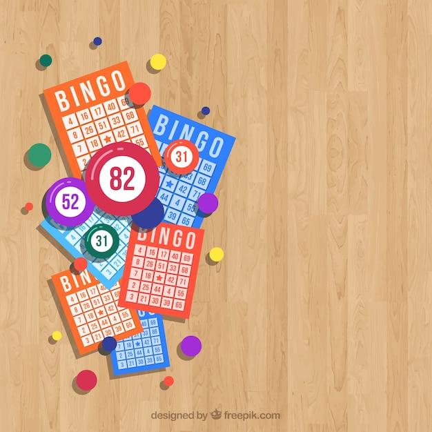 Houten achtergrond met bingo ballots Gratis Vector