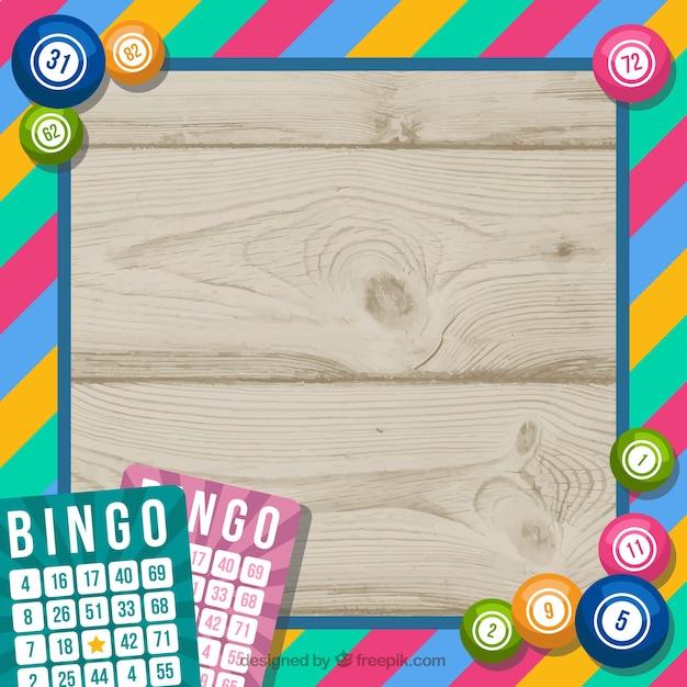 Houten achtergrond met kleurrijke bingo frame Gratis Vector