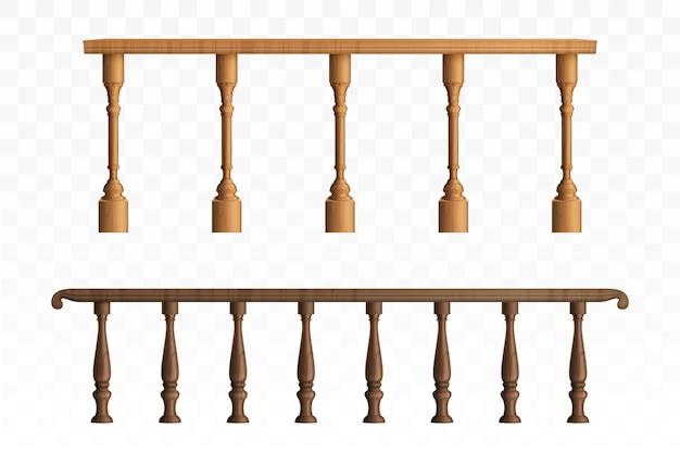 Houten balustrade en balkonleuning of leuningen Gratis Vector