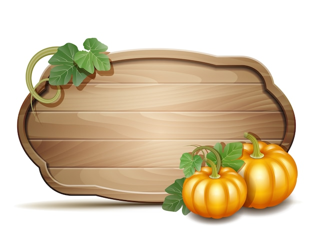 Houten banner met oranje pompoenen. illustratie autumn harvest festival of thanksgiving day. Premium Vector