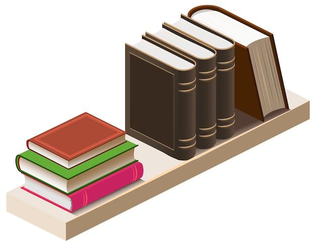 Houten boekenplank met boeken isometrische 3d illustratie. tekenfilm Premium Vector
