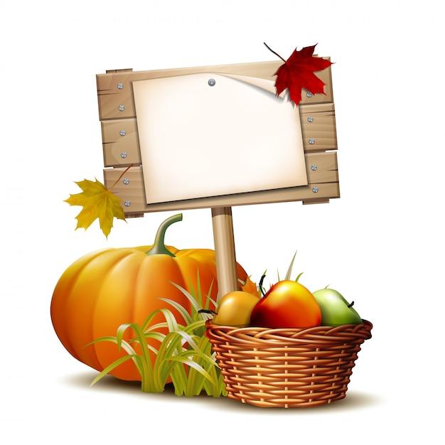 Houten bord met oranje pompoen, herfst bladeren en mand vol rijpe appels. autumn harvest festival of thanksgiving day. milieuvriendelijke groenten. Premium Vector