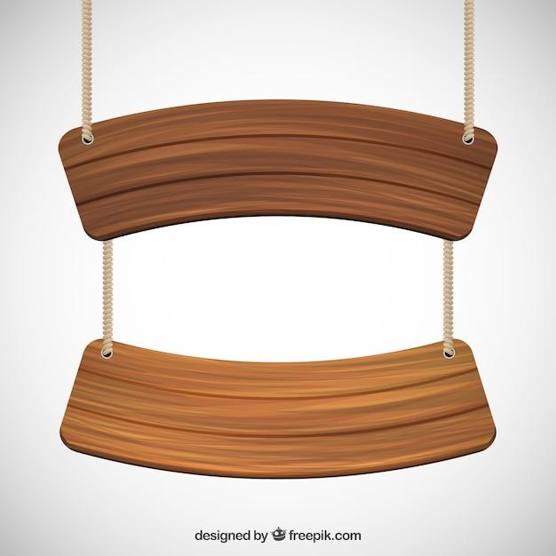 Houten borden opknoping op een touw Gratis Vector