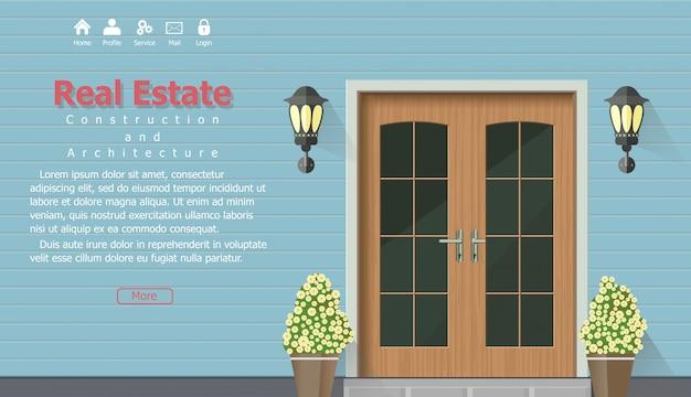 Houten deur van huis met onroerend goed banner Premium Vector