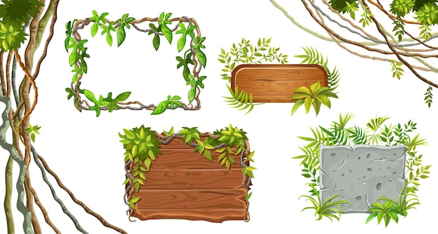 Houten en stenen planken. bladeren liaan. Gratis Vector