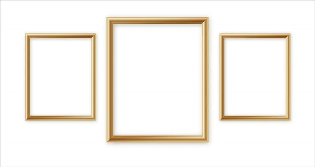 Houten fotolijst collectie. 3d-fotolijst ontwerp voor afbeelding of tekst Premium Vector