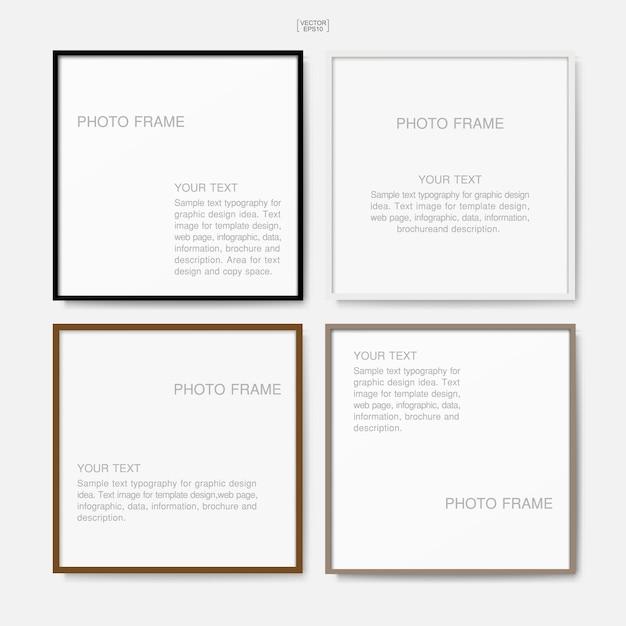 Houten fotolijst of fotolijst voor interieur en decoratie Premium Vector