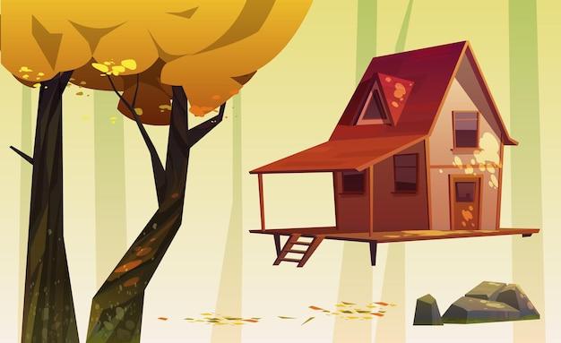 Houten huis en bomen met geel gebladerte, steen en gevallen bladeren Gratis Vector